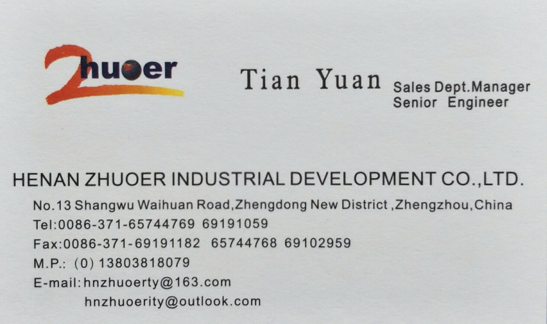 HENAN ZHUOER INDUSTRIAL DEVELOPMENT CO.,LTD